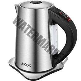 Aicok Wasserkocher Edelstahl, Wasserkocher Temperatureinstellung mit Warmhaltefunktion, BPA Frei Kessel, 2200 Watt, 1,7 Liter, Silber/Schwarz [Energieklasse A+]