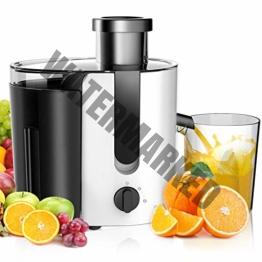 Aigostar Grape 30JDA - Entsafter (1.4L Fruchtfleischbehälter und 500ml Saftbehälter, 400W, Edelstahl Trennscheiben,Juicer 2 Geschwindigkeiten)