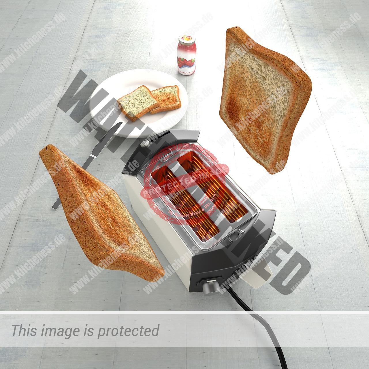 Fliegende Toastscheiben