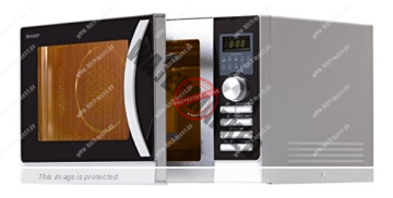 Sharp R-843INW Mikrowelle / 25 L / Silber-Schwarz / 900 W / Express Pizza Programm / Heißluft-Funktion / Grillfunktion / Auftaufunktion / 5 variable Leitsungsstufen / LED-Anzeige